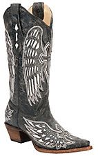 Corral� Ladies Distressed Black w/ Winged Cross White Inlay Snip Toe Western Boot