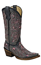 Corral Boot Company® Kid's Distressed Black Camelinas Pink Emb Snip Toe Western Boot