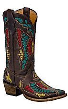 Corral Boot Company® Kids Dark Brown Multi-Color Butterfly Snip Toe Western Boots