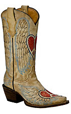 Corral Boot Company® Kids Distressed Tan Winged Heart Snip Toe Western Boot