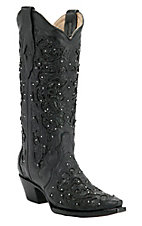 Corral® Ladies Black w/ Cobra Lazor Inlay & Crystals Snip Toe Western Boots