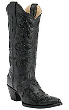 Corral® Ladies Black w/ Black Sequined Inlay Pointed Toe Western Boots