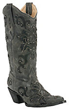 Corral® Ladies Antiqued Grey / Black w/ Black Inlay & Studs Pointed Toe Western Boots