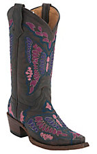 Corral Boot Company® Kids Dark Brown w/ Pink, Purple & Blue Butterfly Snip Toe Western Boots