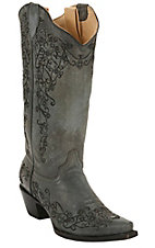 Corral® Ladies Distressed Black w/ Intricate Midnight Embroidery Snip Toe Western Boots