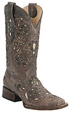 Corral® Ladies Distressed Brown w/ Bone Inlay & Bronze Studs Square Toe Western Boots