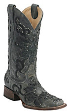 Corral Ladies Black Crater Overlay with Studs Square Toe Western Boots