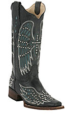 Corral Ladies Distressed Black w/ Winged Cross Turquoise Inlay Square Toe Western Boot