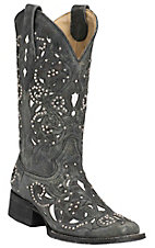 Corral Women's Distressed Black w/ White Inlay & Silver Studs Square Toe Western Boots