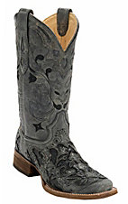 Corral Women's Distress Black w/ Black Caiman Inlay Square Toe Western Boots