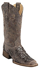Corral® Women's Distressed Brown w/Brown Caiman Inlay Square Toe Western Boots