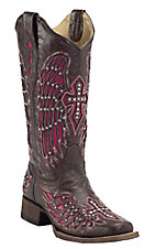Corral® Women's Dark Brown w/ Winged Cross Pink Inlay Square Toe Western Boot