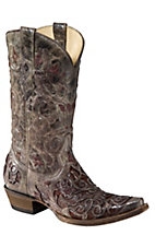 Corral® Men's Distressed Brown with Brown Caiman Inlay Snip Toe Western Boots