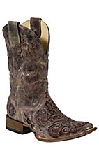 Corral® Mens Distressed Brown Rust w/Brown Rust Caiman Inlay Square Toe Western Boot