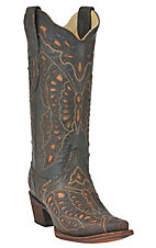 Corral Ladies Dark Chocolate w/ Tan Inlay Butterfly Western Boot