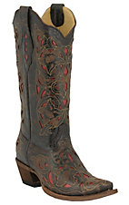 Corral® Ladies Chocolate Floral w/ Red Inlay Western Boots
