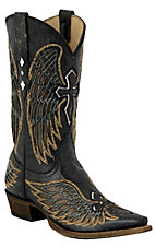 Corral® Mens Distressed Black with Gold Inlay Winged Cross Snip Toe Western Boot