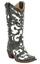 Corral Ladies Antiqued Black w/ White Inlay Snip Toe Western Boot