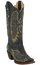 Corral® Ladies Distressed Black w/ Winged Cross Golden Inlay Snip Toe Western Boot