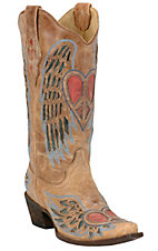 Corral Ladies Distressed Tan w/Winged Heart Red & Blue Inlay Snip Toe Western Boot