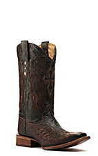 Corral® Mens Distressed Chocolate w/Cognac Inlay Winged Cross Square Toe Western Boot