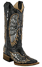 Corral Ladies Distressed Black w/Winged Cross Silver Inlay Square Toe Western Boot