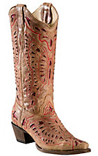Corral® Ladies Tan Brown w/ Red Inlay Butterfly Snip Toe Western Boots