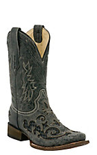 Corral Men's Vintage Black w/ Black Python Inlay Exotic Square Toe Western Boots