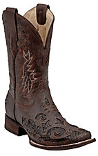 Corral® Men's Distressed Brown w/ Python Snake Inlay Exotic Square Toe Western Boots