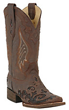 Corral® Ladies Distressed Brown w/ Dark Brown Lizard Inlay Square Toe Western Boot