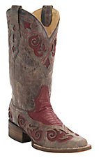 Corral Rodeo Collection Women's Distressed Brown w/Red Teju Lizard Inlay Double Welt Square Toe Western Boots