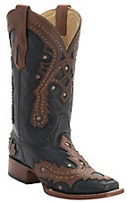 Corral Women's Black w/Saltillo Brown Stud Overlay Double Welt Square Toe Western Boots