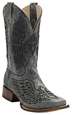 Corral Mens Distressed Black w/Black Inlay Winged Cross Square Toe Western Boots