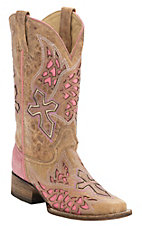 Corral Rodeo Collection Women's Antique Saddle Tan w/Winged Cross Pink Inlay Square Toe Western Boots