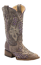 Corral® Ladies Distressed Chocolate w/Winged Cross Purple Inlay Square Toe Western Boots