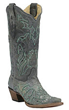 Corral Ladies Distressed Black w/ Turquoise Cross Inlay & Crystals Snip Toe Western Boot