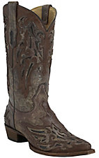Corral Men's Distressed Taupe with Brown Overlay & Chocolate Inlay Snip Toe Western Boots