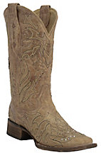 Corral Women's Distressed Sand w/ Brown Cross Overlay Double Welt Square Toe Western Boots