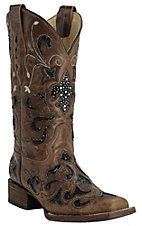 Corral� Women's Distressed Light Brown with Black Sequin Inlay Square Toe Western Boots