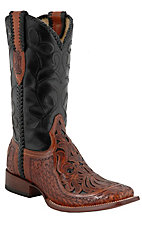 Corral® Men's Brown Chedron Black Willow Tooled Square Toe Western Boots