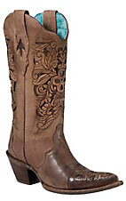 Corral Ladies Brown w/ Chocolate Inlayed Floral Tool Pointed Toe Western Boots