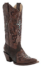 Corral Ladies Brown Cognac w/ Python & Crystal Cross Snip Toe Western Boots