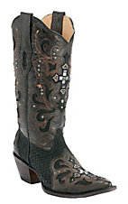 Corral® Ladies Black & Brown w/Python Snip Toe Western Boots