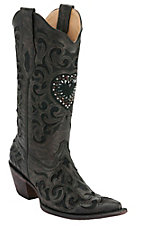 Corral Ladies Brown/Black w/ Black Inlay & Crystal Heart Snip Toe Western Boots