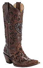 Corral® Ladies Cognac w/ Chocolate Inlay & Crystal Heart Snip Toe Western Boots