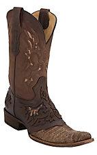Corral® Mens Dusty Cognac Caiman Belly w/ Chocolate Square Toe Western Boot