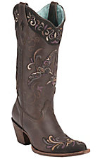 Corral Women's Kats Chocolate/Purple Bird Overlay Snip Toe Western Boots