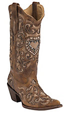 Corral Ladies Sand Maipo Inlay & Crystal Heart Snip Toe Western Boots