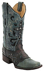 Corral® Women's Crater Black/Blue Wash w/ Stud Cross Square Toe Western Boot