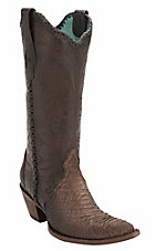Corral Women's Distressed Antique Saddle Sanded Python w/Lace Top Snip Toe Western Boots